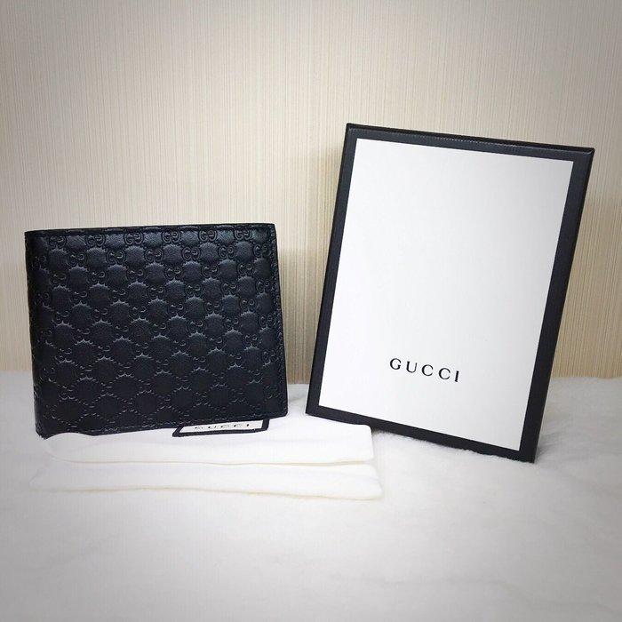 *旺角名店*  ㊣ 全新品 黑色 Gucci Guccissima 皮革家徽壓紋六卡短夾 男夾 260987
