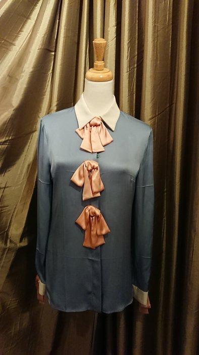 Gucci 藍色絲緞/米白領/袖/粉蝴蝶結襯衫