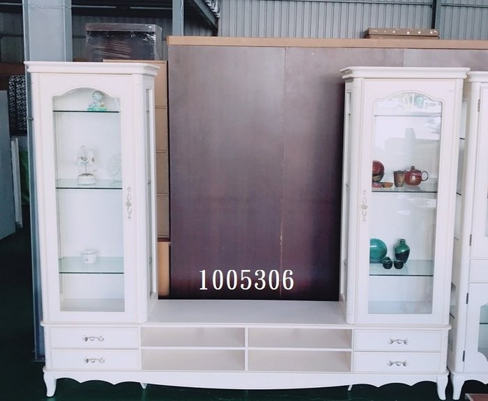 【弘旺二手傢俱】全新/庫存 維多利亞白色高低櫃 電視櫃 展示櫃 隔間櫃 碗盤櫃 書櫃-各式新舊/二手家具 生活家電買賣