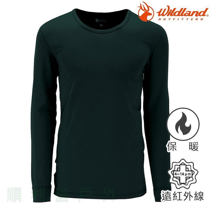荒野WILDLAND 男款遠紅外線彈性保暖衣 W2656 深橄欖 衛生衣 發熱衣 內衣 OUTDOOR NICE