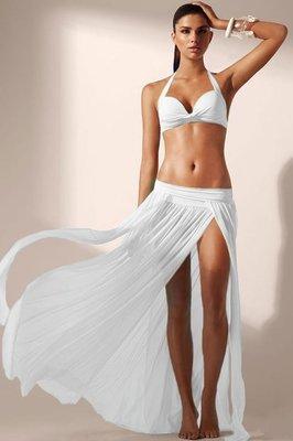 歐美時尚潮流新款防曬披紗開衩長裙蕾絲沙灘比基尼泳裝罩衫 五色 41168