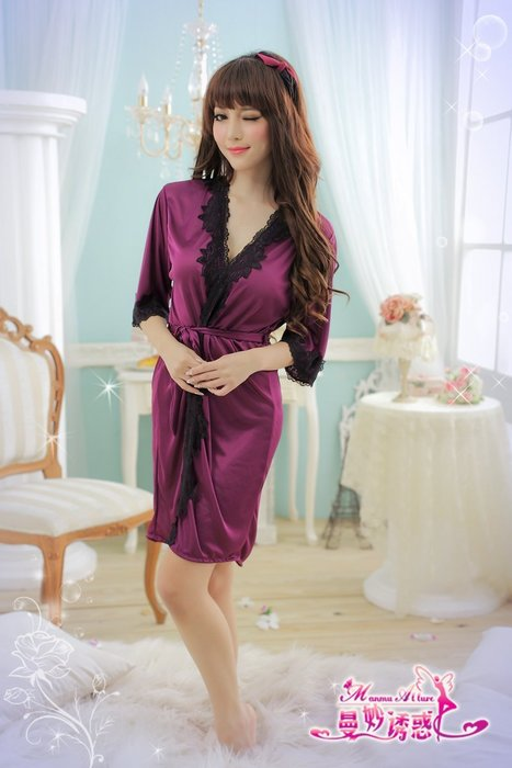 睡袍 紫色外罩衫柔緞拼接黑邊蕾絲情趣睡衣 冰絲柔緞外罩衫 性感睡衣 角色扮演 制服誘惑7055~時尚花園館~