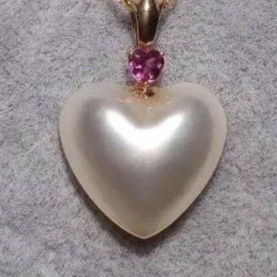 天然馬貝極光愛心5分鑽石純18k金項鍊