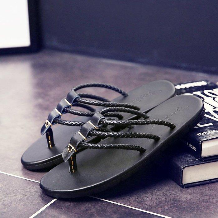 6Du spot~潮牌人字拖男夏外穿時尚個性夾腳越南拖鞋防滑一字拖羅馬沙灘涼鞋