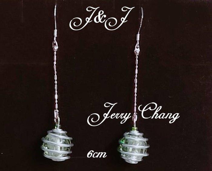 J&J精品~夢裡迴旋~蘋果綠銀箔琉璃鋁線亮麗墜鍊耳環