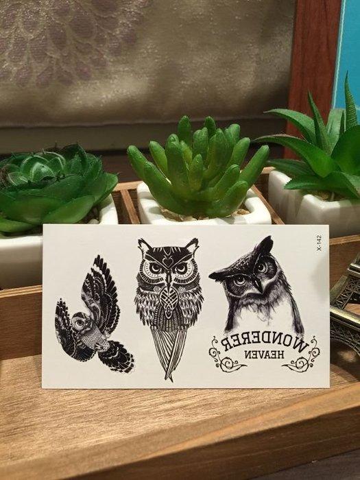 【萌古屋】X系列三隻貓頭鷹X-142 - 男女防水韓風簡約紋身貼紙原宿刺青貼紙