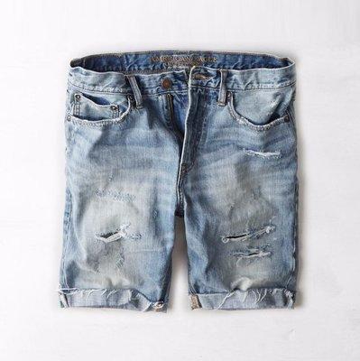 美國百分百【American Eagle】AE 牛仔 短褲 五分褲 牛仔褲 單寧 刷色 抓破 破壞 藍色 褲子 G413