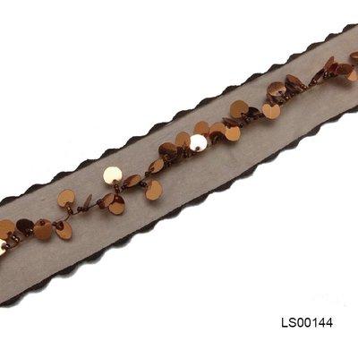 (當天出貨)棕色圓形亮片波浪緞帶‧織帶 ‧絲帶/手工藝DIY手作材料【LS00144】3.3cm