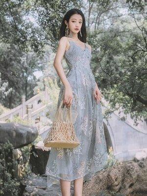 6638浮生辭重工復古繡花國風吊帶裙新款中長款連衣裙
