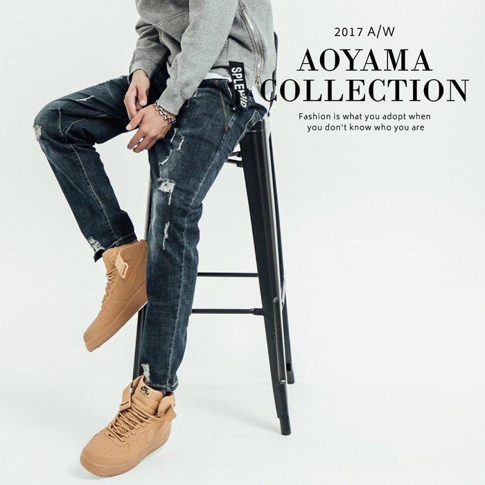 牛仔褲 3D車線剪裁刷色破壞牛仔褲【E636】破壞牛仔 青山AOYAMA