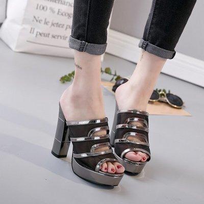 【P.M♥SHOP】2019新款搭防水台高跟拖鞋女一字型涼拖女超高跟魚嘴涼拖鞋女夏