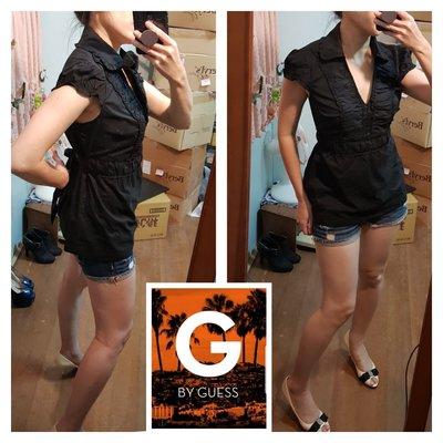 全新GUESS年輕品牌G BY GUESS (尺碼M)黑色棉質短拋袖後綁帶襯衫