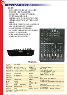 【昌明視聽】混音器 SHOW XMG-82CX 4MIC平衡線路輸入 3立體聲輸入 內置有100種的預設24位DSP效果