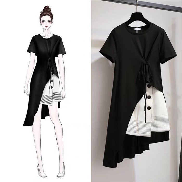 韓版大碼女裝兩件式套裝不規則上衣短裙