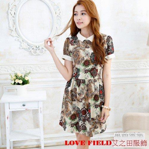 [萬商雲集] 全新 艾之田服飾 俏麗甜美幾何印花復古短袖洋裝 上衣 G70641