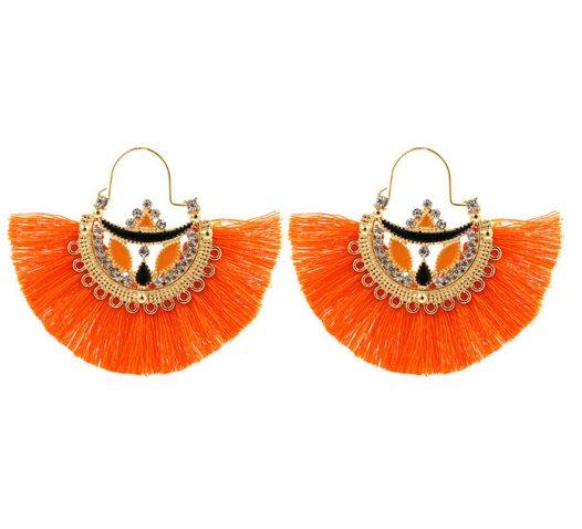 100%Boutique歐美復古民族風扇形棉流蘇鏤空鑲鑚耳環