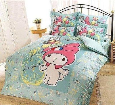 §同床共枕§  HelloKitty 100%精梳純棉  單人3.5x6.2尺 床罩兩用被套四件組-美樂蒂 綠