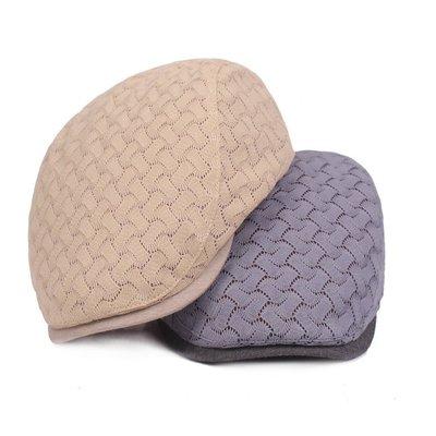 (台灣現貨)透氣編織紋貝蕾帽.前進帽.小偷帽.打鳥帽.鴨舌帽,可調整男女秋冬款鴨舌帽(W381)