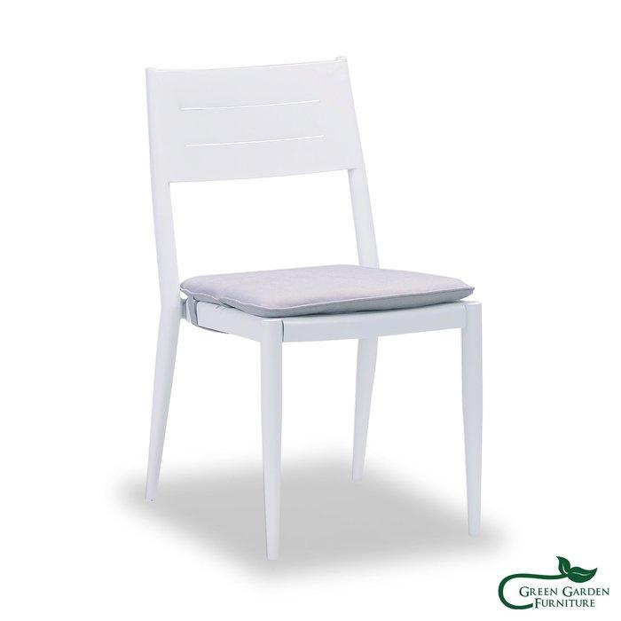 布魯斯 金屬餐椅(含椅墊)【大綠地家具】鋁合金烤漆/金屬家具/戶外休閒椅/含椅墊不挑色