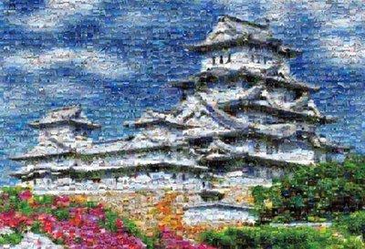 日本正版拼圖.日本 世界文化遺產 姫路城 世界最小1000片蒙太奇 馬賽克 絕版拼圖,M81-521