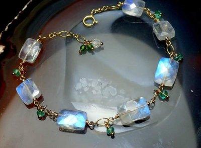 天然寶石級方塊切割月光石 哥倫比亞祖母綠 14k注金手鍊設計款
