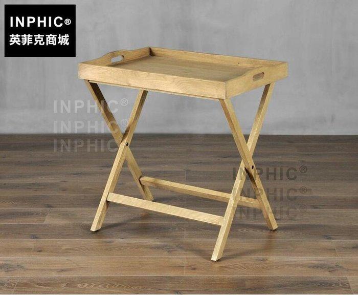 INPHIC-北歐復古高邊几 木質個性托盤式可折疊書房咖啡桌客餐廳架_S1910C