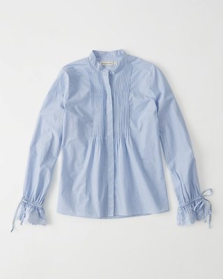 【天普小棧】A&F Abercrombie Eyelet Sleeve Poplin Shirt長袖立領襯衫XS/S號