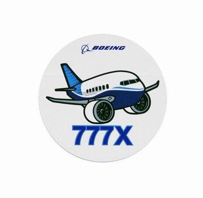 官方版 Boeing 波音 777X 飛機 Q版貼紙 Pudgy Sticker