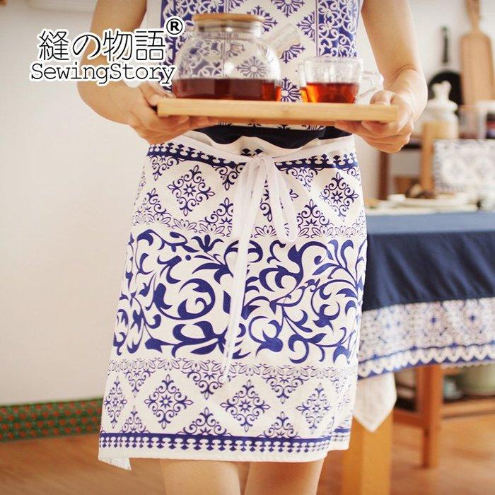 青花瓷手工棉麻創意廚房圍裙家居服 烘焙咖啡屋工作服