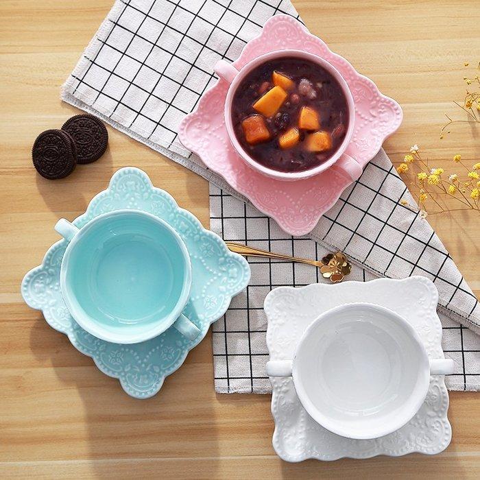 (奇點)燕窩碗甜品碗水果沙拉碗歐式雙耳湯碗創意早餐麥片雪糕冰淇淋碗杯#烘焙用品#