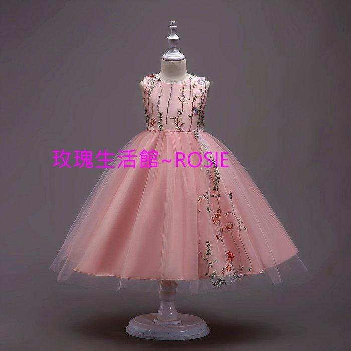 【玫瑰生活館】~ 綉花巴洛克鋼琴禮服裙~ 公主禮服,花童禮服, 鋼琴禮服, 大童禮服裙黑, 藍,  白,  紅, 粉
