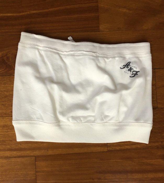 (嘻哈姐弟) Abercrombie & Fitch 女生二手棉質休閒短裙 抽繩腰頭 可調腰寬 貨S號 9成新 刺繡