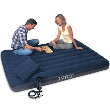 2#INTEX加大充氣雙人床墊203*152*22公分,休閒床組租屋族出租房旅遊;彈簧床空氣床氣墊床絨布双人床