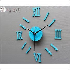 【鐘點站】時尚羅馬數字時鐘 壁貼鐘 DIY組合 超靜音 壓克力質感- 仿舊藍
