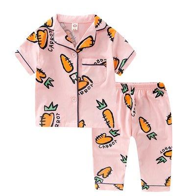 •*~ 辣媽咪衣飾小舖 ~*•❤童裝系列❤K950199韓版兒童夏款超可愛萌款『胡蘿蔔』圖案家居服上衣+長褲二件套