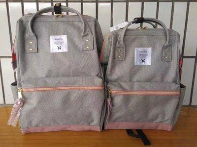 ╭☆包媽子店☆日本anello 灰色帆布雙肩電腦包/學生包(大小號)