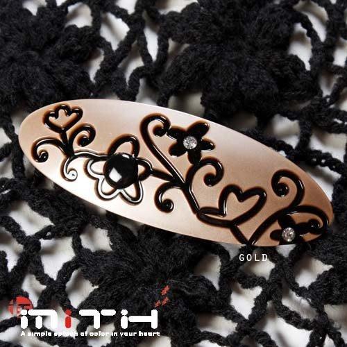 MITHX手創,自然雕花草紋,圓,自動夾,彈簧夾,髮夾,簡單時尚髮飾-三色
