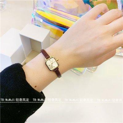 手錶代購日系ete同款復古個性鱷魚紋牛皮錶帶方形手錶鑲鉆石英細錶帶手錶