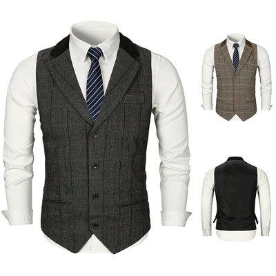 『潮范』 WS10 歐碼新款領子拼接純色格子設計四粒扣西裝開襟背心 馬甲 格紋背心NRG2545