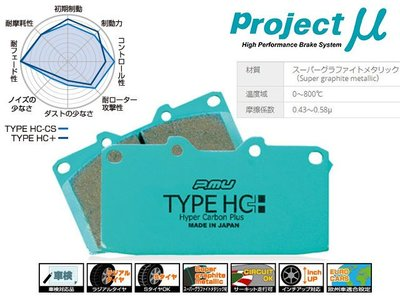 日本 Project Mu Type HC+ 前 後 來令片 Honda 本田 S2000 AP1 AP2 專用