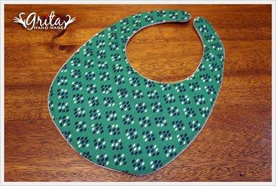 ♥grita's handmade♥純棉手作嬰幼兒圍兜兜/領巾/口水巾/三角巾/彌月禮—氣質點點綠