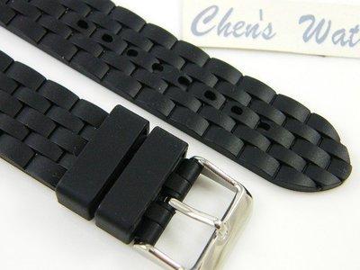 錶帶屋 代用ORIS BC 22mm及20mm浪琴 艾美 百年靈 BREITLING 進口五珠款鋼帶紋高級直身矽膠錶帶