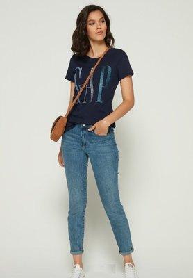 GAP 短袖T恤 女生 LOGO 藍色