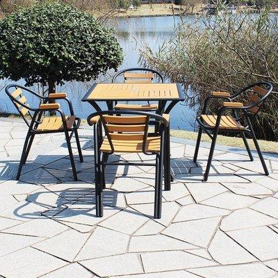 『格倫雅』桌椅 戶外桌椅組合庭院室外防腐木桌椅簡約休閒現代漫咖啡廳奶茶店桌椅^3952