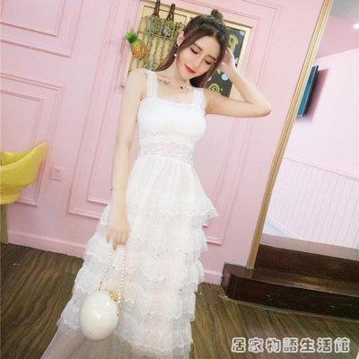 裙子女夏韓版氣質甜美吊帶蕾絲拼接層層亮片五角星蛋糕洋裝