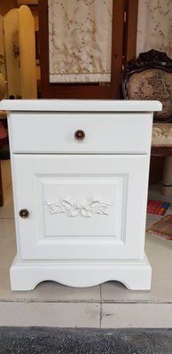 法式鄉村洗白床頭櫃 歐式雕刻.電話桌....