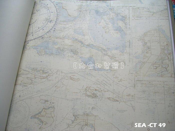 【大台北裝潢】美國Seabrook進口壁紙CT* Nantucket Map 地圖(2色)