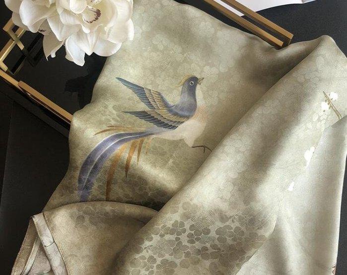 (輕舞飛揚)鳳鳥梅花漸變中國風真絲絲巾女鏤空暗紋提花桑蠶絲春夏大披肩 軍綠