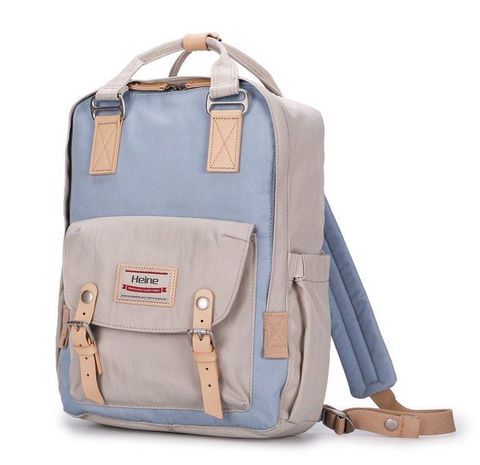 【12H急速出貨】Heine 時尚多功能媽媽包 媽咪包 待產包 後背包 雙肩包 外出包 旅行包 大容量-象牙*淺藍