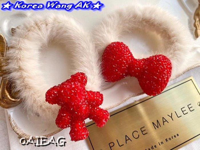 Korea Wang AK~(現貨)正韓 韓國代購 南大門 特別款紅色警戒造型毛毛髮束 三款 單個160元【SF775】